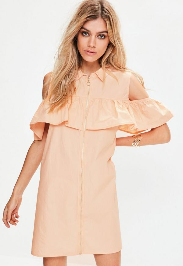 Pink Ruffle Front Zip Dress
