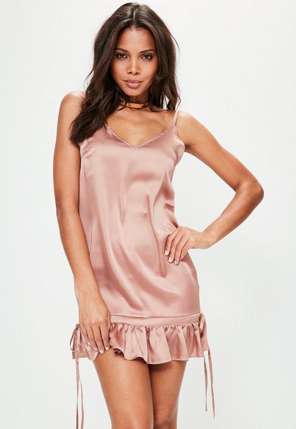 Nude Satin Scrunch Bottom Cami Dress