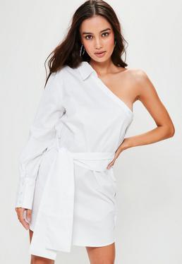 White One Shoulder Unbutton Shirt Dress