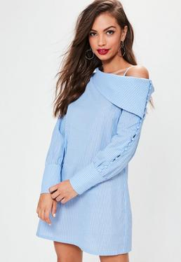 Blue Striped One Shoulder Unbutton Shirt Dress