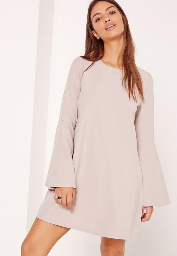 Grey Flute Sleeve Crepe Shift Dress