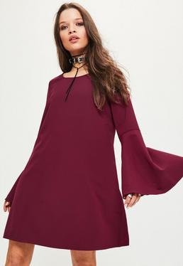 Purple Flute Sleeve Crepe Shift Dress