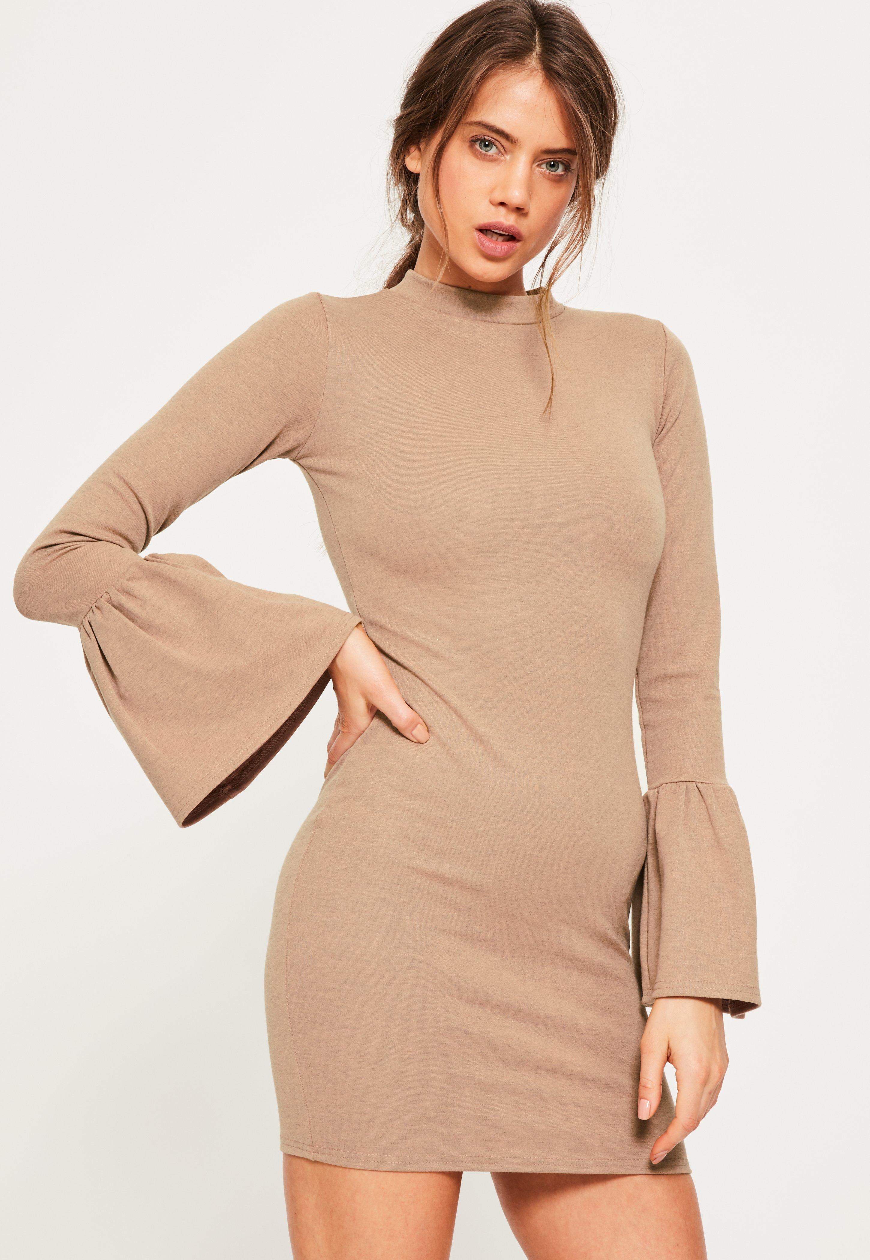 Nude Flounce Sleeve High Neck Bodycon Dress