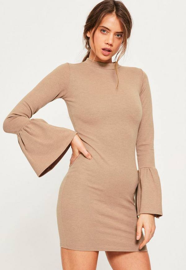 Nude Flounce Sleeve High Neck Bodycon Dress