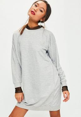 Grey Oversized Fishnet Trim Jumper Dress