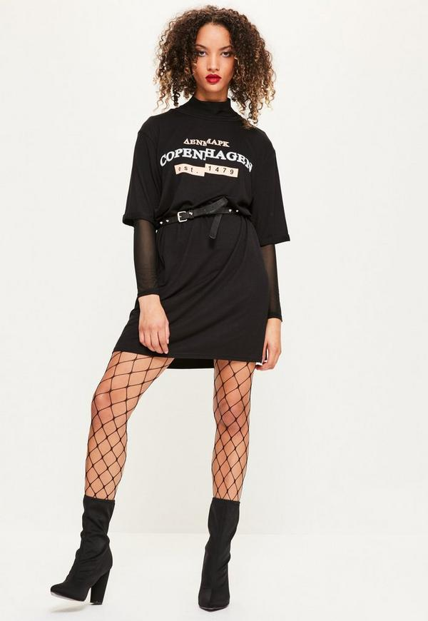 Black Copenhagan Slogan T Shirt Dress