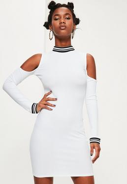 White Sport Ribbed Cold Shoulder Bodycon Dress