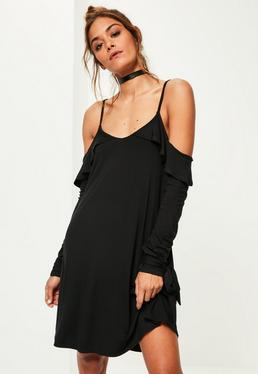 Black Cold Shoulder Frill Detail Swing Dress