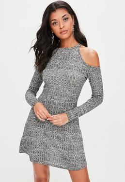 Grey Thick Rib Cold Shoulder Swing Dress