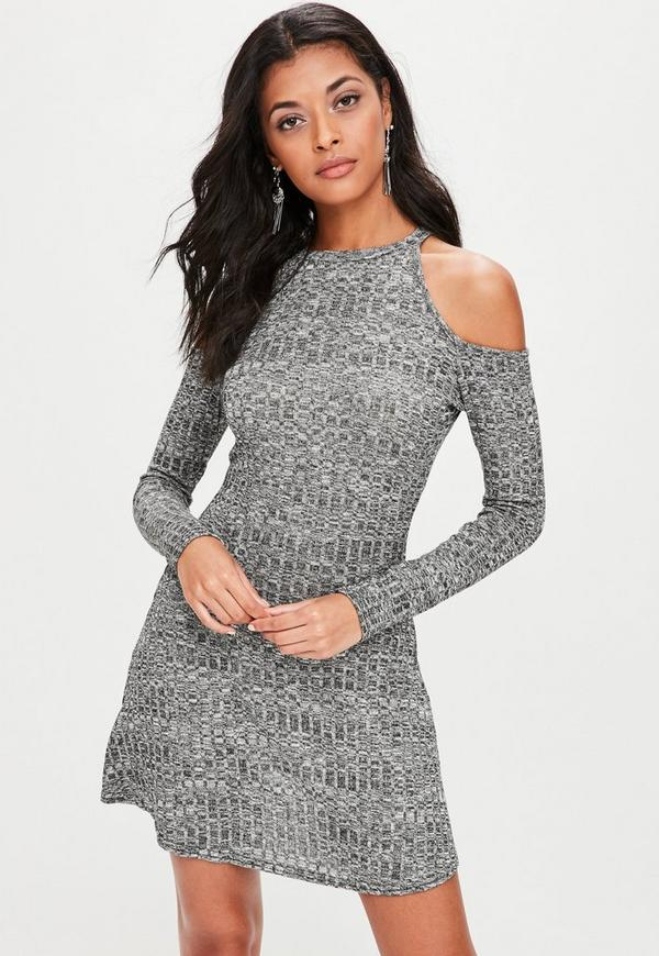 Grey Thick Rib Cold Shoulder Swing Dress