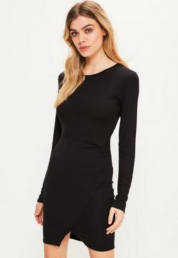 Black Ruched Side Asymmetric Detail Dress