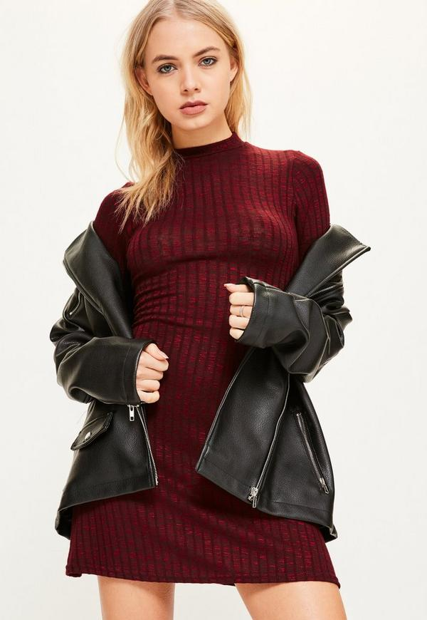 Burgundy High Neck Ribbed Dress