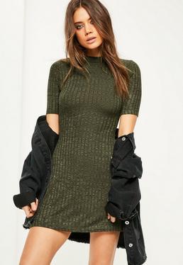 Khaki High Neck Ribbed Dress