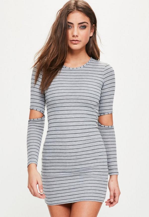 Grey Striped Cold Elbow Bodycon Dress