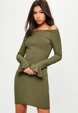 Khaki Ribbed Bardot Frill Sleeve Bodycon Dress