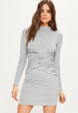 Grey High Neck Cross Front Bodycon Dress