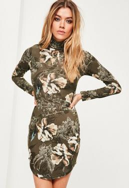 Green Floral Print Curved Hem Bodycon Dress