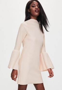 Nude Ribbed Flared Sleeve Shift Dress