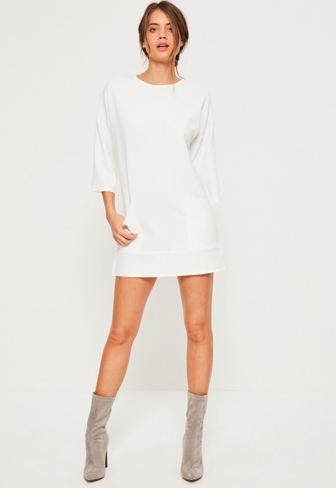 White Drop Shoulder Pocket Detail Shift Dress - Missguided
