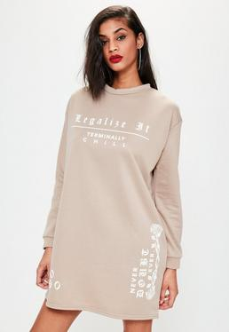 Nude Slogan Oversized Jumper Dress