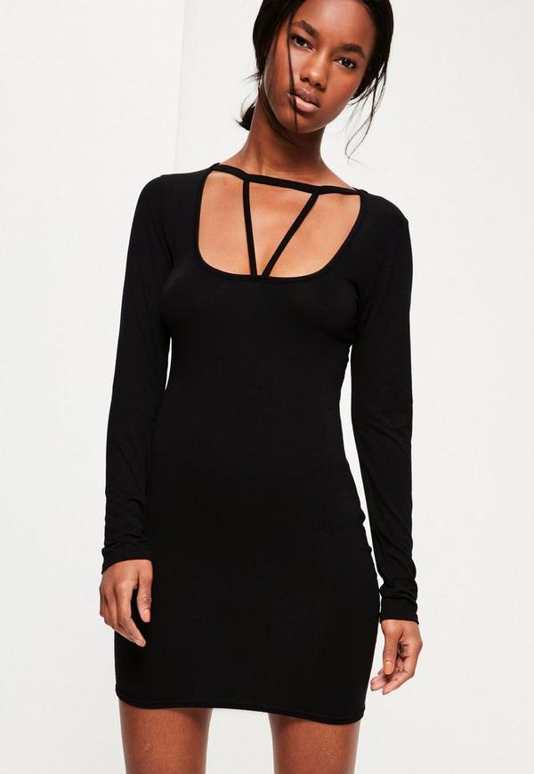 Black Harness Detail Bodycon Dress