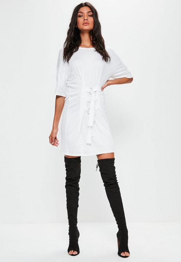 White Oversized Buckle Corset T-shirt Dress | Missguided