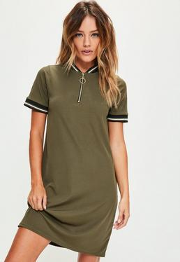 Khaki Sports Ribbed Detail Shift Dress