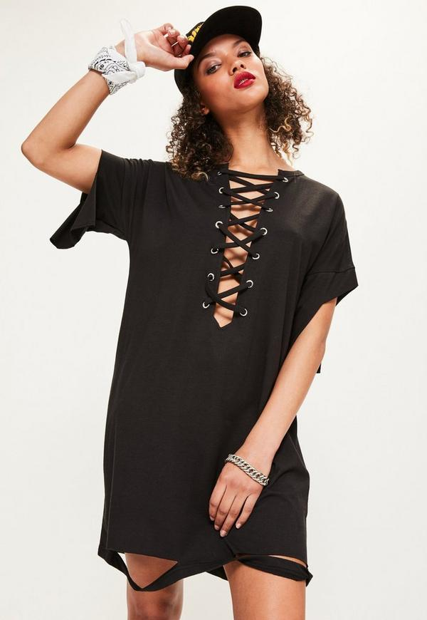 Black Lace Up Distressed T-Shirt Dress