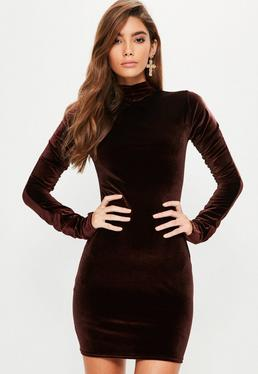Brown Velvet Ruched Sleeve Bodycon Dress