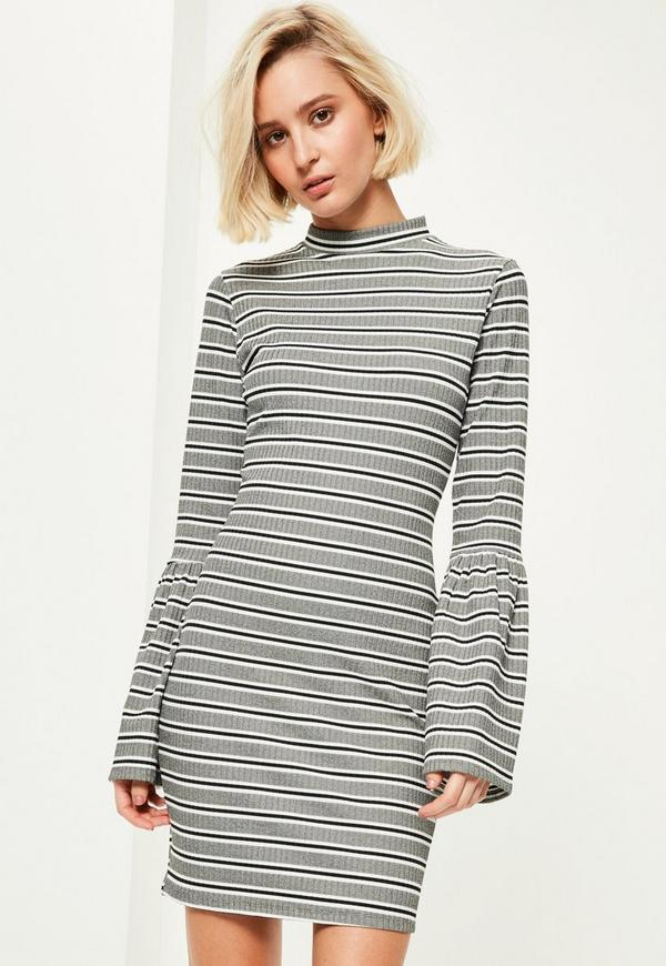 Grey Striped High Neck Flared Sleeve Bodycon Dress