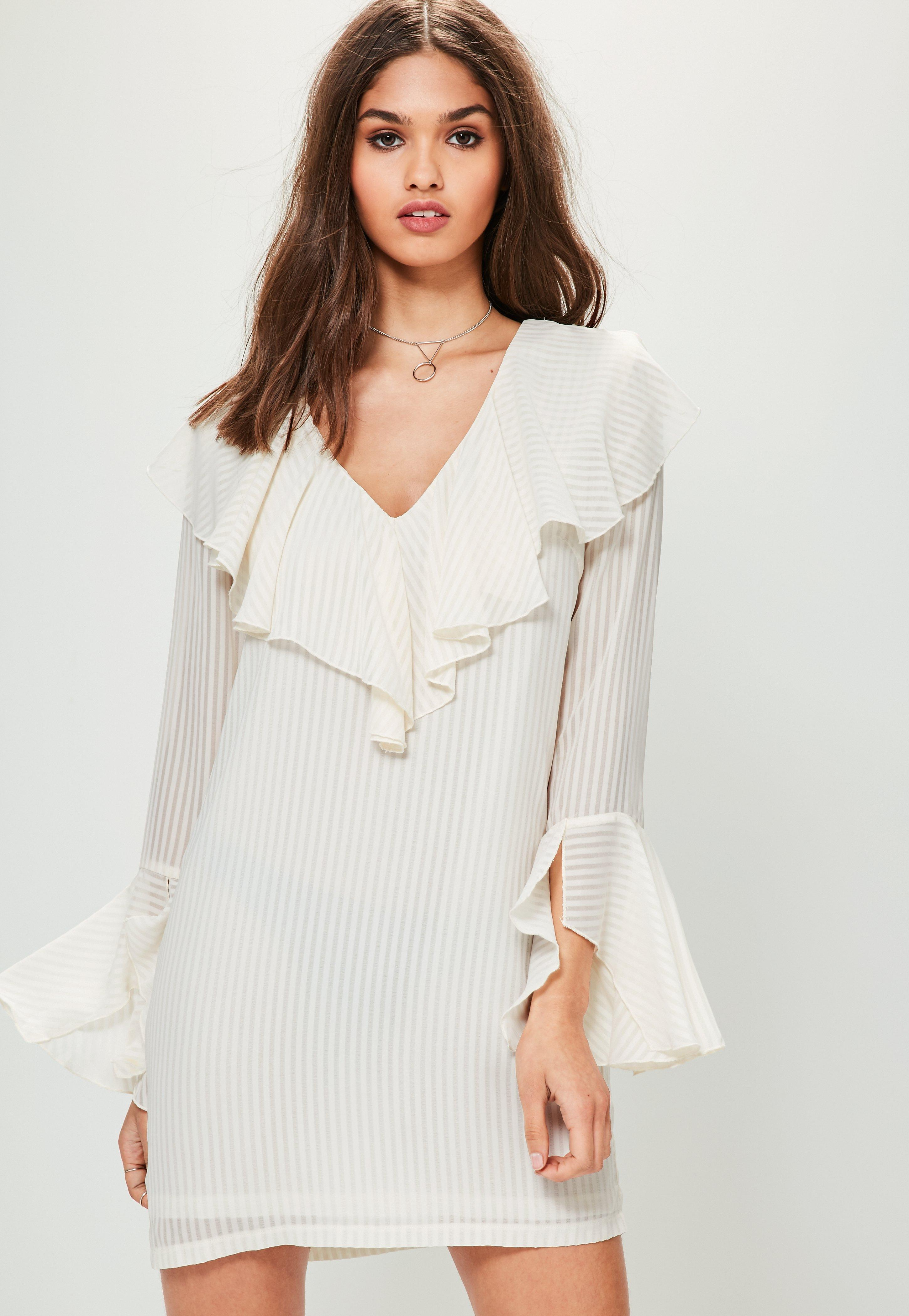 Wedding White Long Sleeve Dress long sleeve dresses with sleeves missguided white frill striped shirt dress