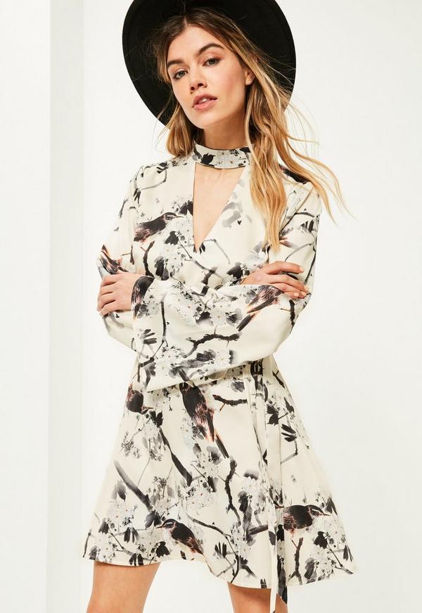 Cream Bird Print Choker Neck Belted Dress