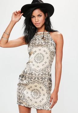 Nude Paisley Print Bodycon Dress
