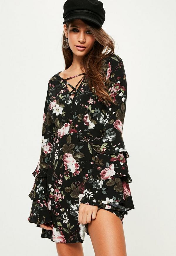 Black Floral Tie Ruffle Tea Dress