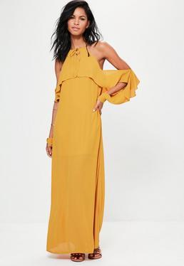 Robe longue jaune à manches volantées