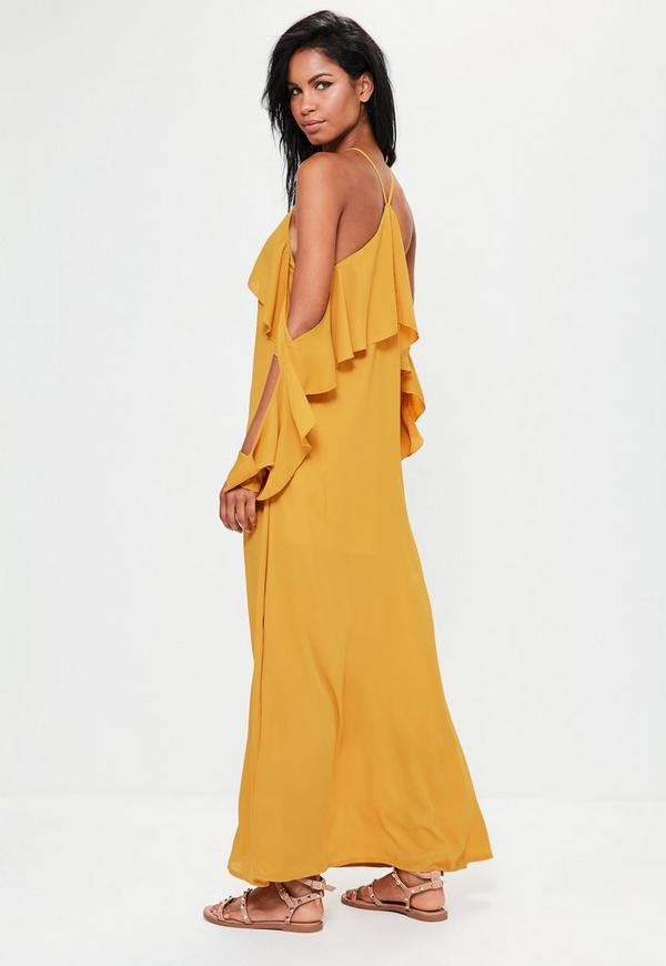 Yellow Ruffle Sleeve Maxi Dress