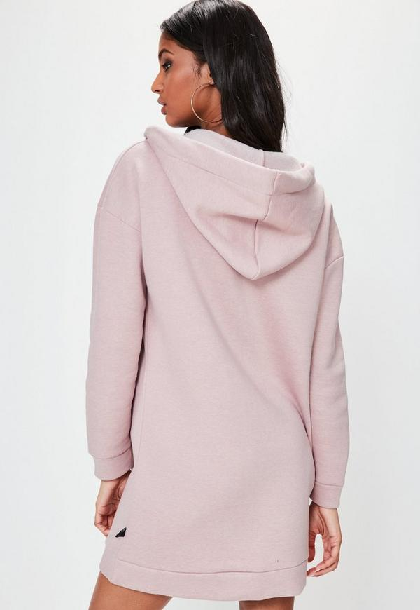robe pull capuche rose avec col b nitier et illets londunn missguided missguided. Black Bedroom Furniture Sets. Home Design Ideas