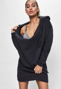 Londunn + Missguided Navy Cowl Neck Hooded Sweater Dress