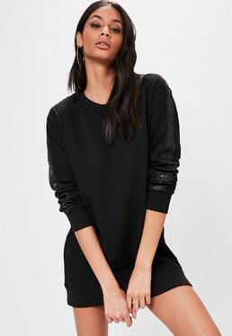 Czarna owersajzowa sukienka bluza z logiem na rękawach Londunn + Missguided
