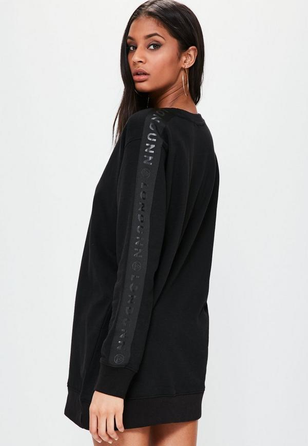 robe pull noire oversize avec logo sur les manches londunn missguided missguided. Black Bedroom Furniture Sets. Home Design Ideas