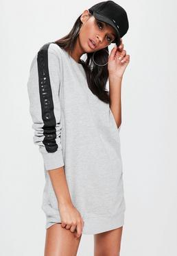 Szara owersajzowa sukienka bluza z logiem na rękawach Londunn + Missguided