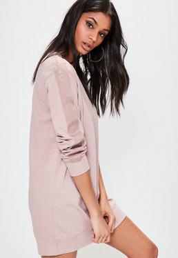 Różowa owersajzowa sukienka bluza z logiem na rękawach Londunn + Missguided