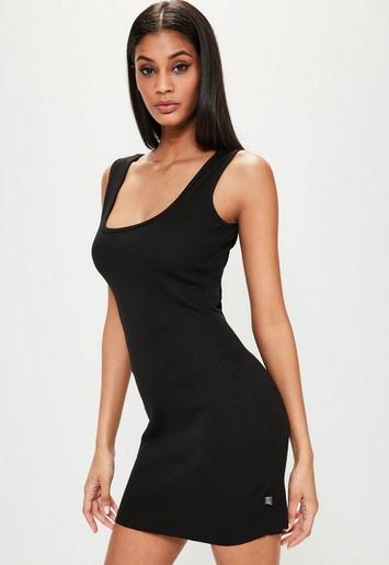 Londunn Missguided Black Ribbed Square Neck Mini Dress