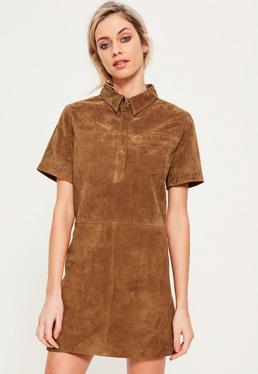 Robe suédine droite brun clair