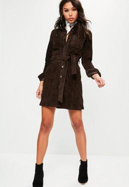 Brown Real Suede Shirt Dress