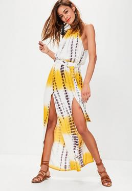 Yellow Tie Dye Print Cheesecloth Maxi Dress