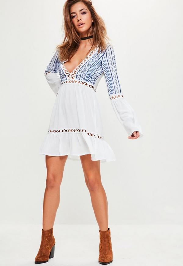 White Cheesecloth Crochet Trim Swing Dress