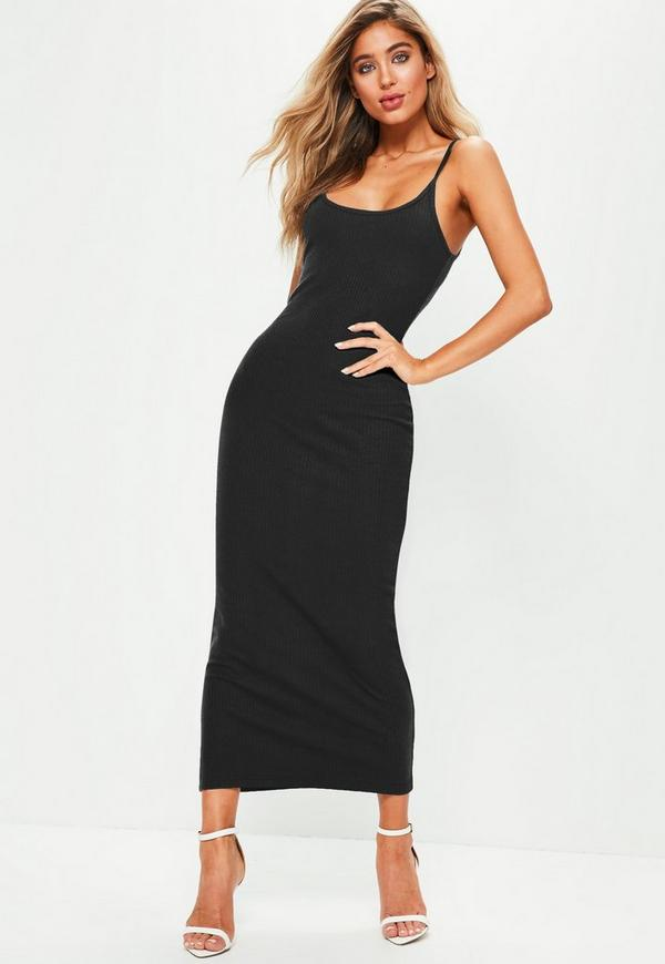 21e451e4203bed Black Ribbed Strappy Bodycon Midi Dress