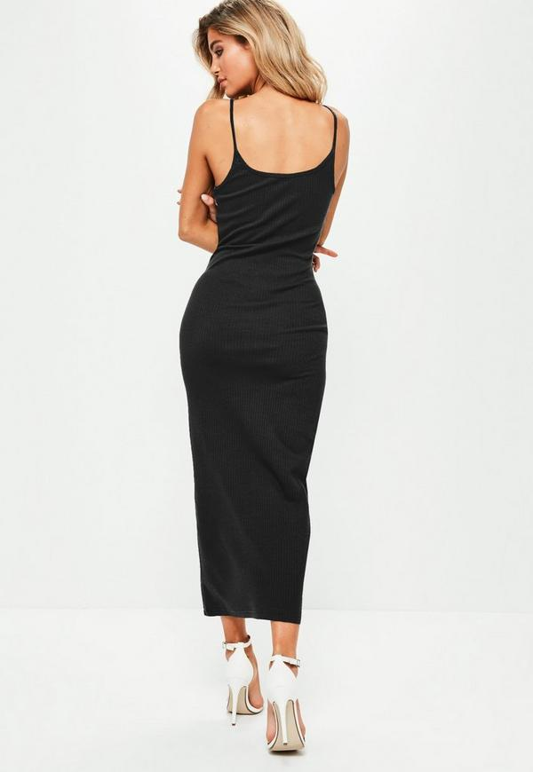 Black Ribbed Strappy Bodycon Midi Dress Missguided