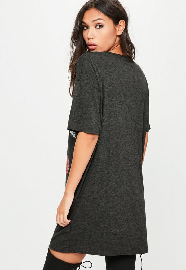 grey graphic print lace up t shirt dress missguided